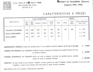 Il primo listino prezzi degli impianti di Folgarida. Stagione 1965-66. Tratto da 1900-2000. Il XX secolo in Trentino-Alto Adige, Curti, Taiani, Tecilla, Ambrosi